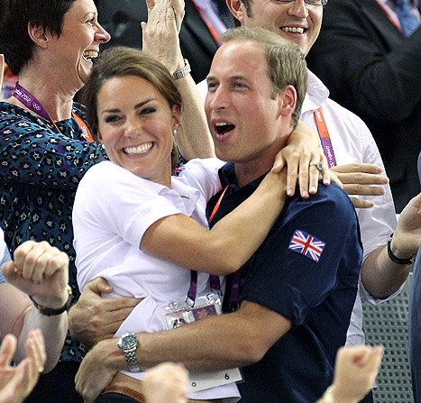PIC: Kate Middleton, Prince William Hug in Stands at Olympics Cycling Match