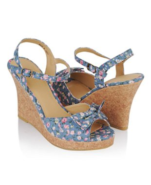 Floral Bow-Wedge Sandals