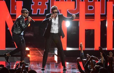 Pharrell Williams and Robin Thicke perform at the 2013 BET Awards in Los Angeles