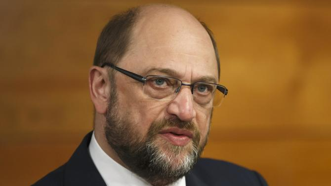 European Parliament President Martin Schulz attends a news conference after a meeting with Spain's Prime Minister Mariano Rajoy at Madrid's Moncloa Palace