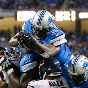 Detroit Lions running back Joique Bell leaps across goal line for TD