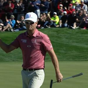 Zach Johnson sinks a 30-footer for birdie at Waste Management