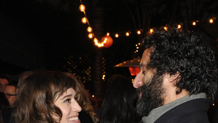 """Actors Lizzy Caplan, left, and Jason Mantzoukas attend an exclusive screening of Comedy Central's """"Kroll Show"""" hosted by Entertainment Weekly on Tuesday, January 15, 2013 at LA's Silent Movie Theatre in Los Angeles. (Photo by John Shearer/Invision for Entertainment Weekly/AP Images)"""