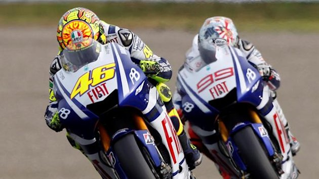 Valentino Rossi followed by Jorge Lorenzo in 2010 (Reuters)