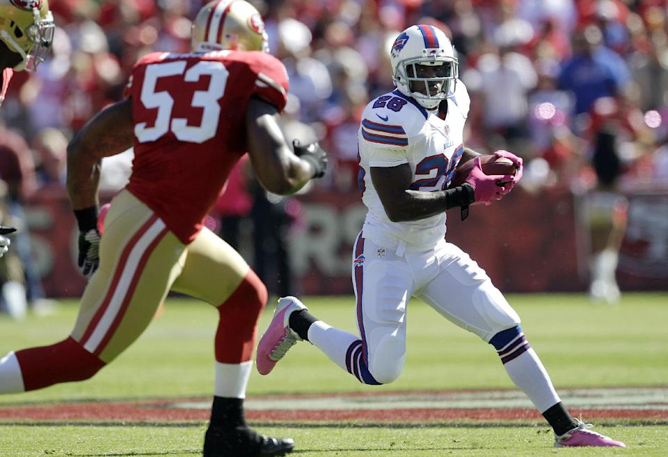 Buffalo Bills running back C.J. Spiller (28) runs against San Francisco 49ers linebacker NaVorro Bowman (53) during the first quarter of an NFL football game in San Francisco, Sunday, Oct. 7, 2012. (AP Photo/Tony Avelar)