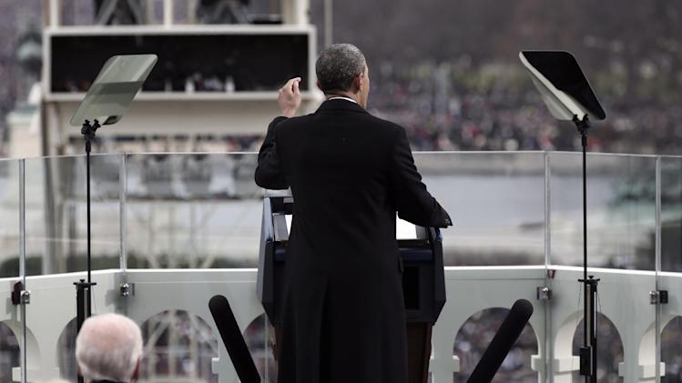 President Barack Obama gestures as he gives his inauguration address during a ceremonial swearing-in ceremony during the 57th Presidential Inauguration, Monday, Jan. 21, 2013  on the West Front of the Capitol in Washington.  (AP Photo/Win McNamee, Pool)