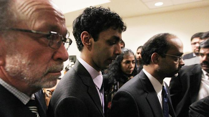 Dharun Ravi leaves the courtroom  on Friday, March 16, 2012 at the Middlesex Superior Court in New Brunswick, N.J.  Ravi, a former Rutgers University student accused of using a webcam to spy on his gay roommate's love life has been convicted of bias intimidation and invasion of privacy. A jury found that he used a webcam to spy on roommate Tyler Clementi.  Within days, Clementi realized he had been watched and jumped to his death from New York's George Washington Bridge in September 2010.   (AP Photo/The Star-Ledger, Jerry McCrea, Pool)