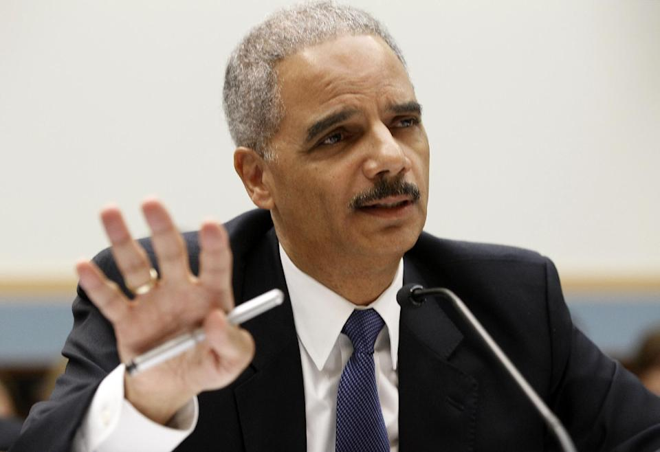 Attorney General Eric Holder testifies on Capitol Hill in Washington, Thursday, June 7, 2012, before the House Judiciary Committee oversight hearing on the Justice Department.  (AP Photo/Charles Dharapak)