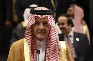 Saudi Arabia's FM Prince Faisal attends the opening of an Arab League meeting in Cairo