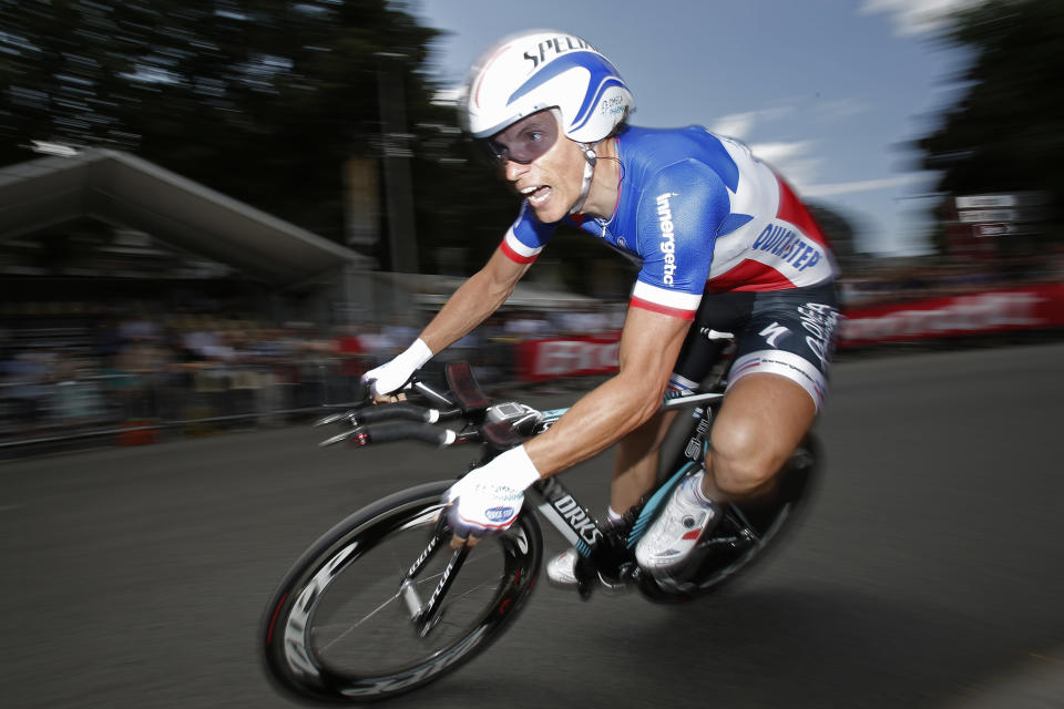 Sylvain Chavanel of France competes in the prologue of the Tour de France cycling race, an individual time trial over 6,4 kilometers (4 miles) with start and finish in Liege, Belgium, Saturday June 30 2012. (AP Photo/Christophe Ena)
