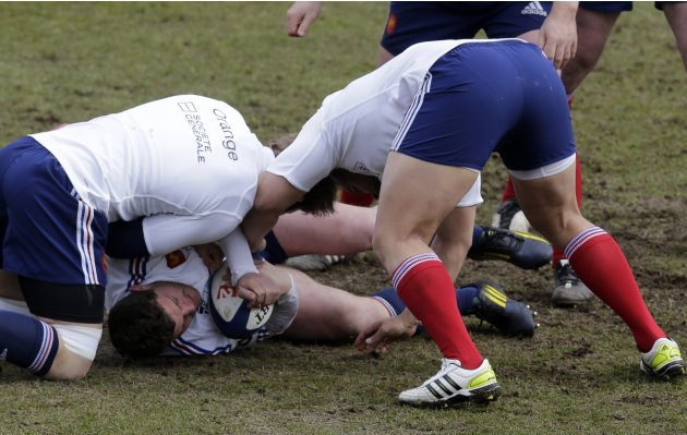 France's rugby player Guirado attends a training session at the Rugby Union National Centre in Marcoussis