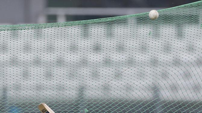 Bangladesh's Mushfiqur Rahim bats in the nets during a practice session ahead of their first Twenty20 cricket match against South Africa in Dhaka, Bangladesh, Wednesday, July 1, 2015. (AP Photo/ A.M. Ahad)