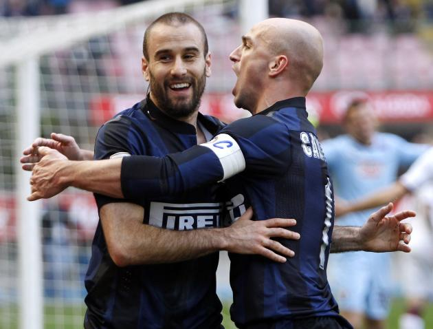Inter Milan's Palacio celebrates after scoring against Torino during their Italian Serie A soccer match in Milan