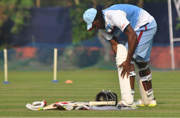 West Indian player Chris Gayle during practice sessions at Salt Lake stadium in Kolkata on Oct.30, 2013. (Photo: IANS)