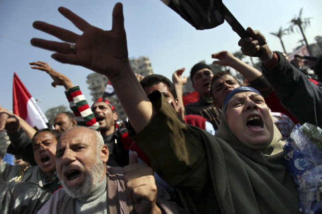 Egyptian protesters chant anti-Muslim Brotherhood slogans as they attend a rally in Tahrir Square, in Cairo, Egypt, Friday, Nov. 30, 2012. Egypt's opposition has called for a major rally Friday in Cai