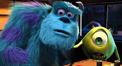 James P. Sullivan ( John Goodman ) and Mike Wazowski ( Billy Crystal ) in Disney's Monsters, Inc.
