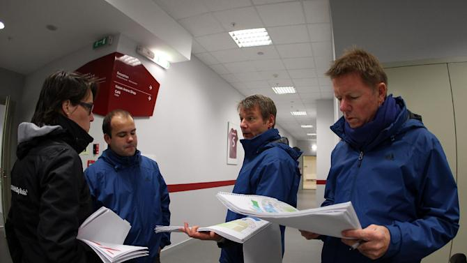 FIFA inspection committee members visit Russia's Kazan Arena on October 17, 2014