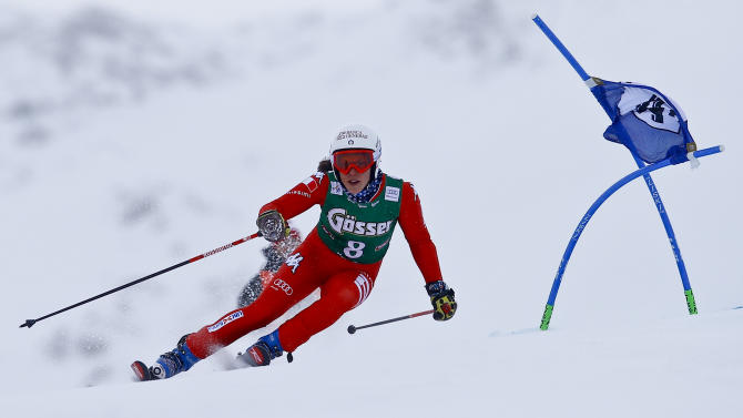 Brignone from Italy clears a gate during the first run of the World Cup Women's Giant Slalom race in Kuehtai ski resort