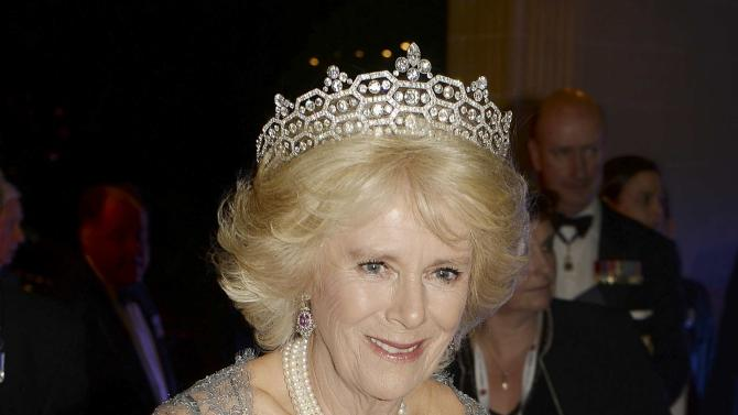 Britain's Camilla, the Duchess of Cornwall, arrives to attend a dinner at the Corinthia Palace Hotel in Attard