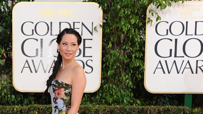 Actress Lucy Liu arrives at the 70th Annual Golden Globe Awards at the Beverly Hilton Hotel on Sunday Jan. 13, 2013, in Beverly Hills, Calif. (Photo by Jordan Strauss/Invision/AP)