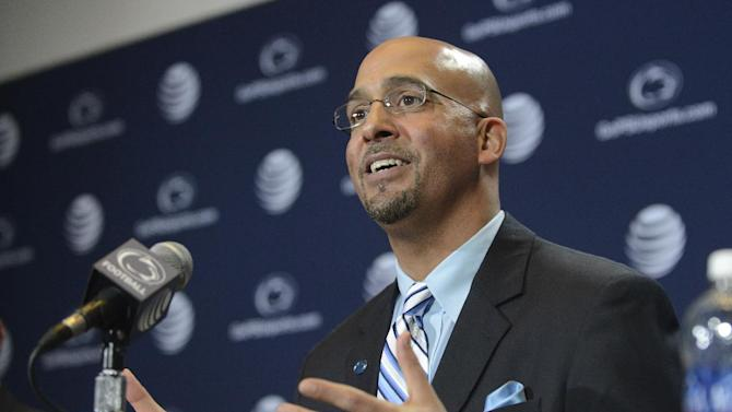James Franklin speaks after being introduced as Penn State's new football coach during a news conference, Saturday, Jan. 11, 2014, in State College, Pa. Franklin was formerly the head coach at Vanderbilt University. He replaces Bill O'Brien who left Penn State after two seasons to become head coach of the Houston Texans