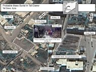 A combination of satellite images of the town of Tall Daww, Haoula in Syria, shot by a DigitalGlobe satellite and annotated and released to Reuters by the U.S. government on June 1, 2012, shows a May 18, 2012 aerial photo of a square in Tall Daww (L) and the same square in an image (R) taken May 28, 2012. U.S. Government officials point to the dotted area in the May 28, 2012 image as showing ground that had been recently disturbed and refer to it as a probable mass burial site. To match story SYRIA-CRISIS/USA-EVIDENCE REUTERS/DigitalGlobe via the U.S. Government/Handout   (SYRIA - Tags: POLITICS CIVIL UNREST CONFLICT) FOR EDITORIAL USE ONLY. NOT FOR SALE FOR MARKETING OR ADVERTISING CAMPAIGNS. THIS IMAGE HAS BEEN SUPPLIED BY A THIRD PARTY. IT IS DISTRIBUTED, EXACTLY AS RECEIVED BY REUTERS, AS A SERVICE TO CLIENTS