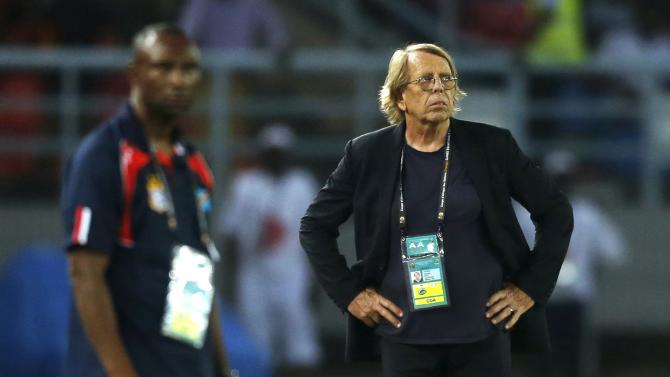 Congo's head coach Le Roy looks on during their quarter-final soccer match of the 2015 African Cup of Nations against Democratic Republic of Congo in Bata