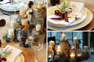 Pine Cones and Birch Stumps: We adore the combination of birch stumps, candles and pine cones.