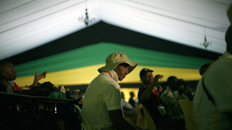 Ruling party African National Congress (ANC) delegates listen to speakers, during their elective conference at the University of the Free State in Bloemfontein, South Africa, Monday, Dec. 17, 2012. At the meeting Monday, officials announced that there would be only two candidates contesting to be the party's president: Current President Jacob Zuma and Deputy President Kgalema Motlanthe, as they gathered for the the party's Mangaung conference, being held in the city, also known as Bloemfontein. (AP Photo/Jerome Delay)