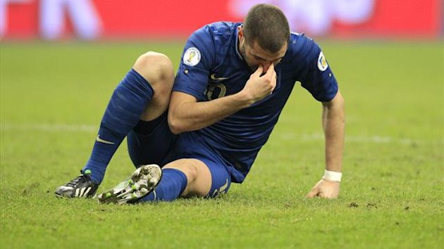 France's Karim Benzema reacts during their 2014 World Cup qualifying game against Spain at the Stade de France stadium