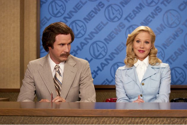 Will Ferrell Christina Applegate Anchorman: The Legend of Ron Burgundy Production Stills DreamWorks 2003
