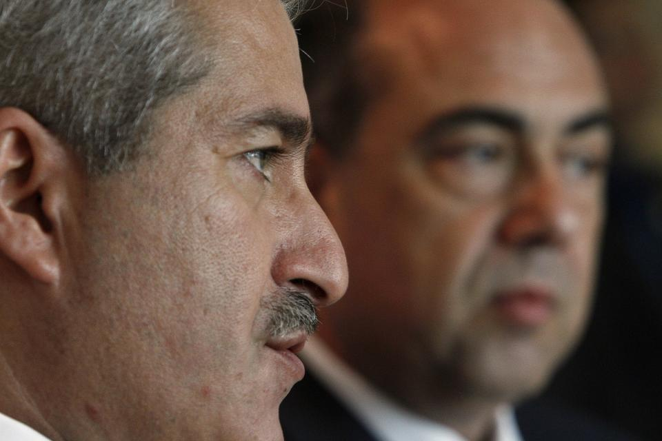 Jordanian Foreign Minister Nasser Judeh, left, and Cyprus' foreign minister Marcos Kyprianou speak to the media during a news conference after their meeting at the Foreign House in Nicosia, Cyprus, Friday, June 17, 2011. Judeh is in Cyprus for three-day official visit. (AP Photo/Petros Karadjias)
