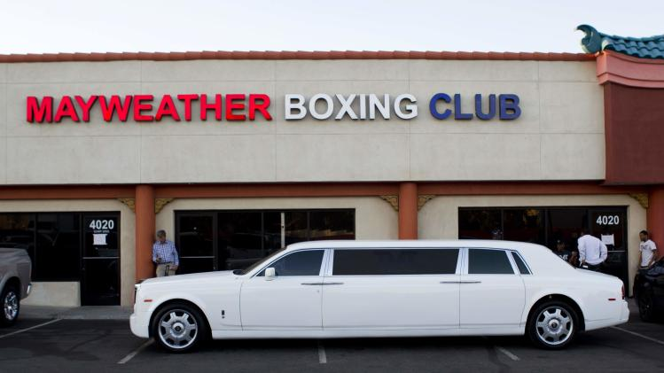 Floyd Mayweather Jr.'s Rolls Royce limousine is seen outside the Mayweather Boxing Club in Las Vegas