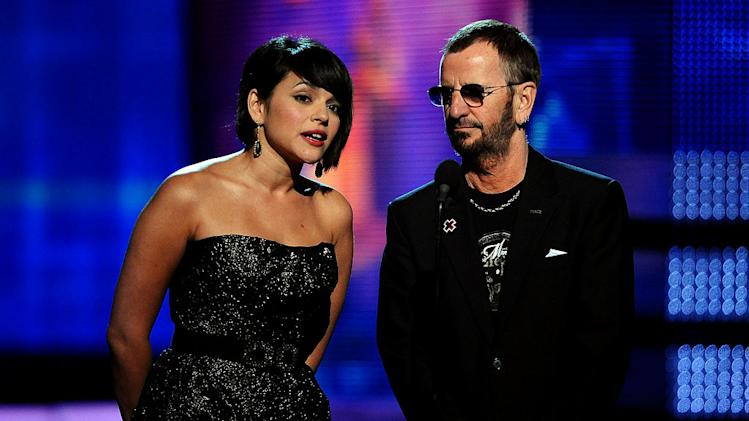Norah Jones and Ringo Starr at The 52nd Annual Grammy Awards held at Staples Center on January 31, 2010 in Los Angeles, California.