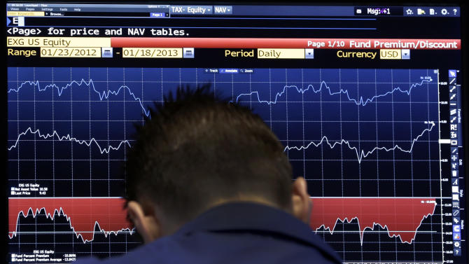 A specialist checks a screen as his post on the floor of the New York Stock Exchange Tuesday, Jan. 22, 2013. World stock markets fell Wednesday Jan. 23, 2013 ahead of a U.S. vote on raising the nation's borrowing limit.  (AP Photo/Richard Drew)