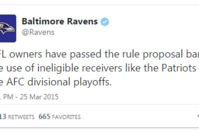 The Ravens are still pissed about the Patriots' trick plays