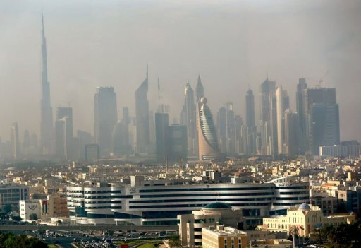 Part of the skyline of the city of Dubai is pictured in the early hours of the morning on November 20. Dubai's economy grew 4.1 percent in the first half of 2012 compared with the same period last year as tourism boomed in the glitzy city-state, the statistics centre said on Monday