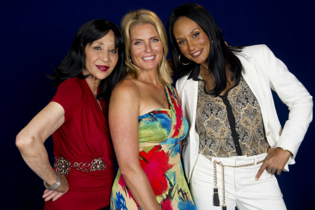 This July 18, 2012 photo shows models China Machado, lfrom left, Kim Alexis and Beverly Johnson in New York. The models appear in a new documentary called &quot;About Face&quot; premiering on HBO on July 30. The film looks at topics like each model&#39;s career, aging and our culture&#39;s obsession with youth. (Photo by Charles Sykes/Invision/AP)