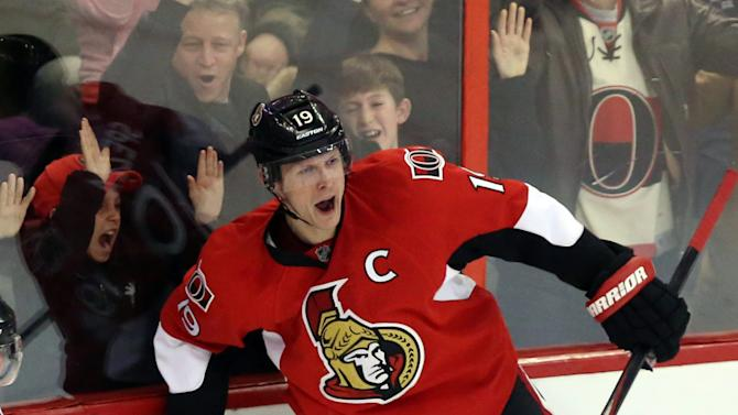 Ottawa Senators' Jason Spezza (19) celebrates his tying goal during the third period of an NHL hockey game against the Nashville Predators in Ottawa, Monday, March 10, 2014. Nashville defeated Ottawa 4-3 in overtime