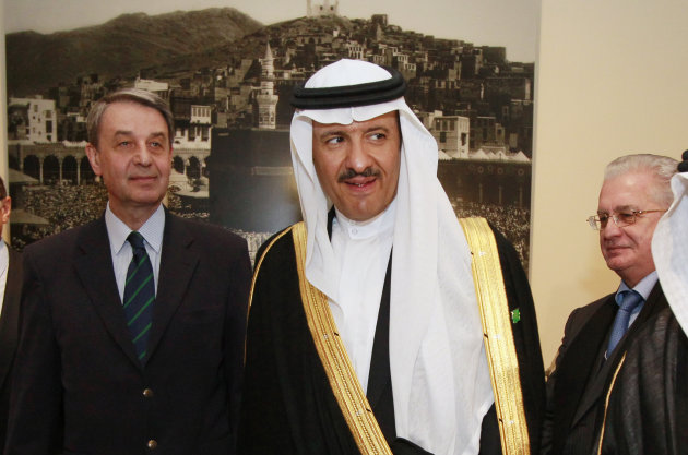"Prince Sultan bin Salman bin Abdul-Aziz Al Saud, chairman of the Saudi Commission for Tourism and Antiquities, center, Russian Minister of Culture Aleksandr Avdeev, left, and Director of the State Hermitage museum Mikhail Piotrovsky examine the exhibition ""Roads of Arabia. Archeological treasures of Saudi Arabia"" at the Hermitage museum in St.Petersburg, Russia, Monday, May 16, 2011."