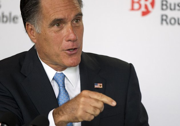 Republican presidential candidate, former Massachusetts Gov. Mitt Romney speaks during the Business Roundtable quarterly meeting at the Newseum in Washington, Wednesday, June 13, 2012. (AP Photo/Evan Vucci)
