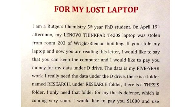 Student Offers $1,000 for Data on Stolen Laptop (ABC News)