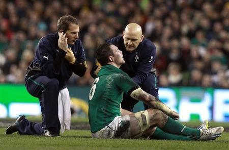 Ireland's O'Mahony is treated for an injury during their International rugby union match against Australia in Dublin