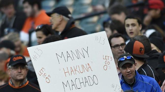 A Baltimore Orioles fan holds up a sign before the start of a baseball game against , Friday, April 24, 2015, in Baltimore.(AP Photo/Gail Burton)