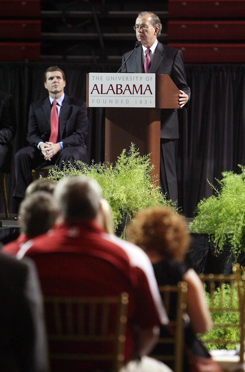 University of Alabama president Robert Witt speaks during a memorial service for the six University of Alabama students who were killed during the April 27 tornado that ripped through Tuscaloosa hosted in Foster Auditorium Friday, Aug. 5, 2011. (AP Photo/Michelle Lepianka Carter - Tuscaloosa News)