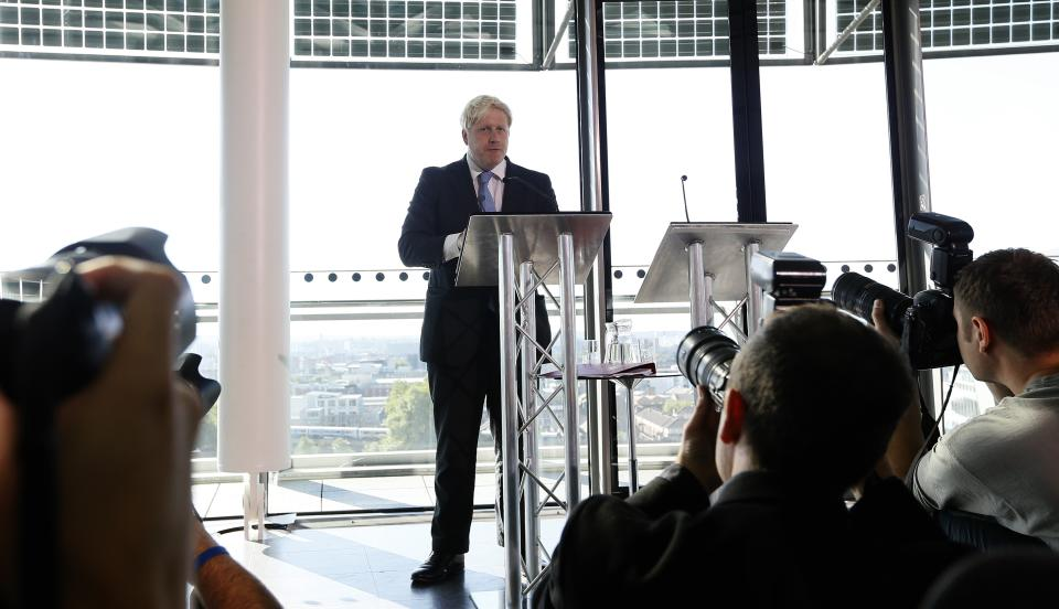 Boris Johnson, the Mayor of London, speaks during a press conference about the future of Britain's aviation, in London Thursday, Oct. 4, 2012. The Mayor urged the British government to speed up aviation expansion or risk economic stagnation. (AP Photo/Kirsty Wigglesworth)