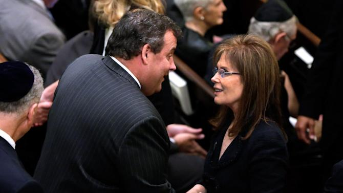 New Jersey Gov. Chris Christie talks with Bonnie Englebardt Lautenberg, widow of U.S. Sen Frank Lautenberg, before her husband's funeral service in New York's Park Avenue Synagogue, Wednesday, June 5, 2013. Lautenberg, a liberal Democrat from New Jersey, died Monday after suffering complications from viral pneumonia. At 89, he was the oldest member of the Senate and the last of 115 World War II veterans to serve there. (AP Photo/Richard Drew, Pool)