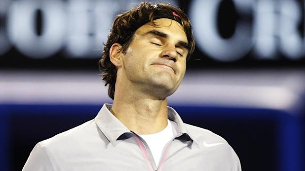 Roger Federer of Switzerland reacts during his men's singles semi-final match against Andy Murray of Britain at the Australian Open tennis tournament in Melbourne (Reuters)