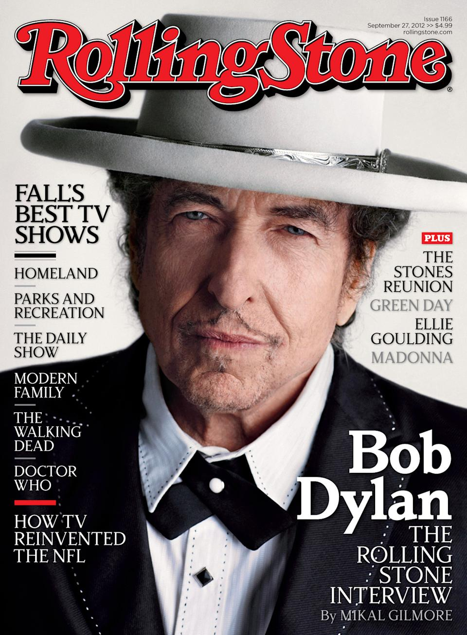 "In this publicity photo provided by Wenner Media LLC, Bob Dylan appears on the cover of the Oct. 2012 issue of Rolling Stone, promoting his new album ""Tempest,"" released this week. The magazine hits newsstands Friday, Sept.14. (AP Photo/Wenner Media LLC)"