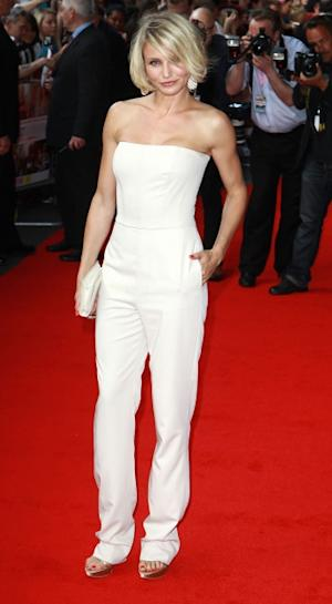 Cameron Diaz steps out in white at the European premiere of 'What To Expect When You're Expecting' at BFI IMAX in London on May 22, 2012 -- Getty Premium